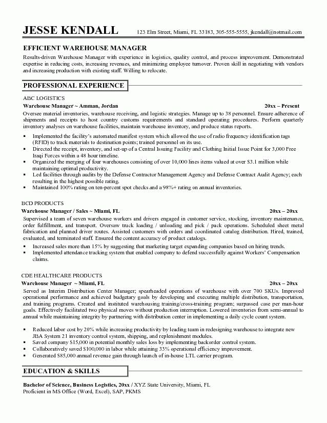 Warehouse Resume Samples | haadyaooverbayresort.com