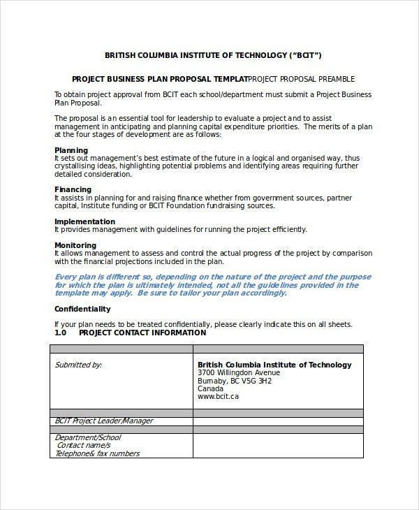 Proposal Sample Doc. Printable Sample Business Proposal Form 896 ...