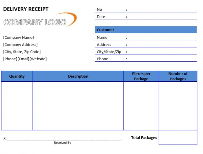 Sample Delivery Receipt | Free Word Templates