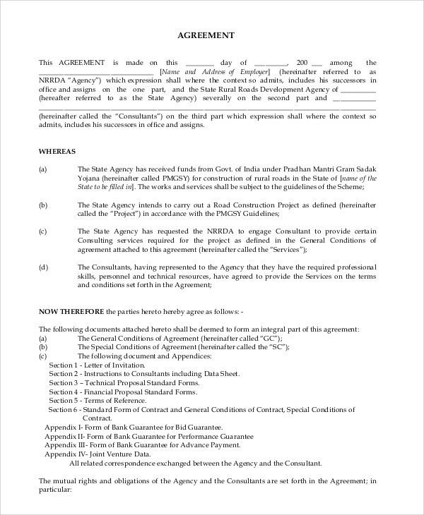 Sample Consulting Agreement. Project Management Consultancy ...