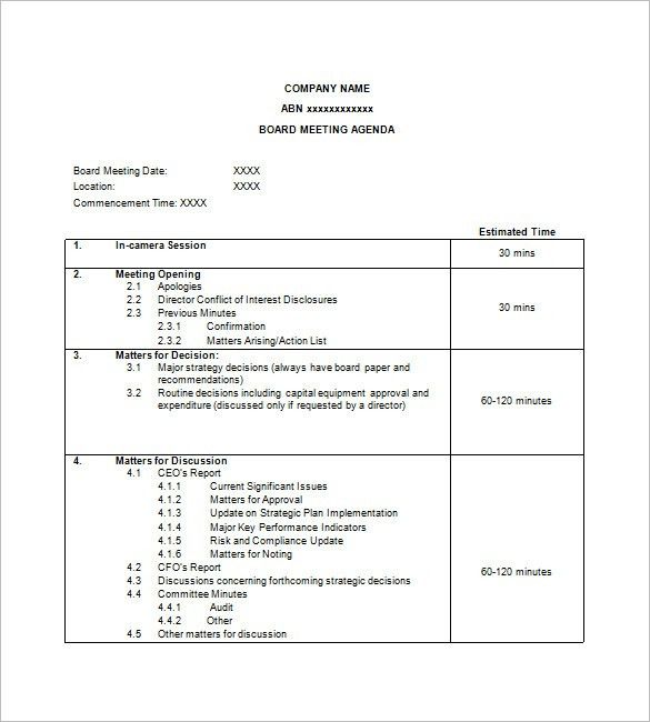 Simple Agenda Template - 8+ Free Word, Excel, PDF Format Download ...