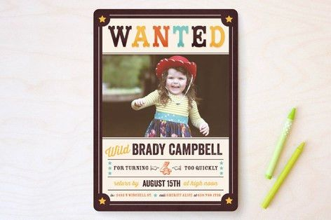 Wanted Poster Children's Birthday Party Invitation... | Minted