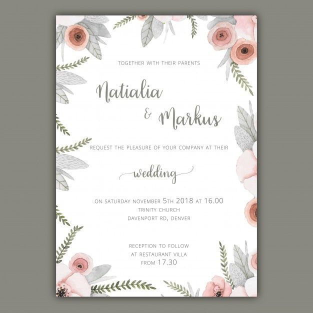 Wedding invitation template with pastel flowers Vector | Free Download