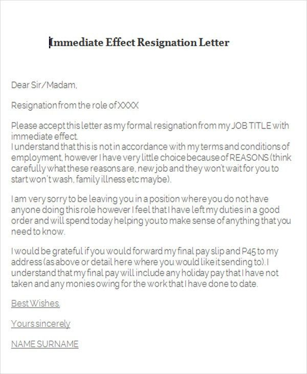 Immediate Resignation Letter Sample. Thankful Two Weeks Notice ...