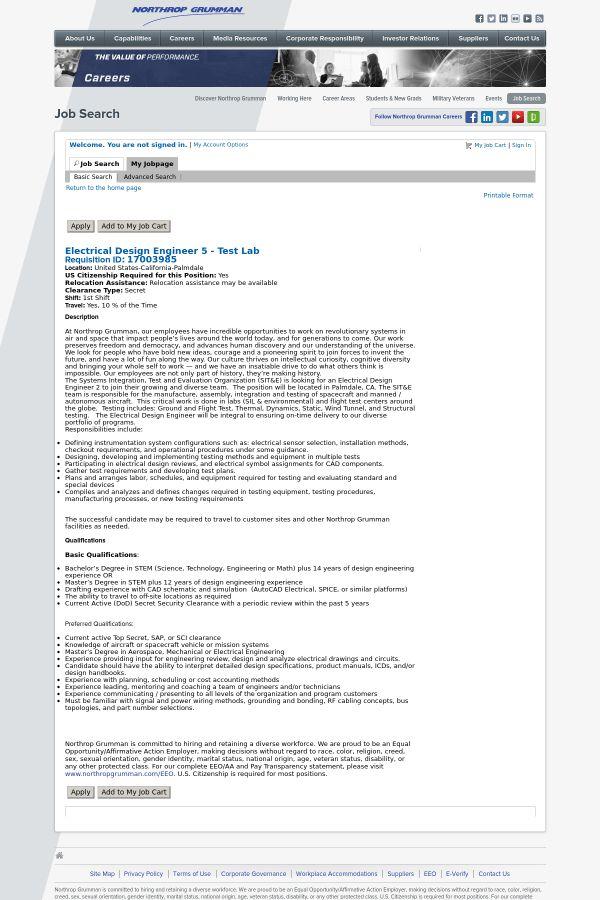 Electrical Design Engineer 5 - Test Lab job at Northrop Grumman ...