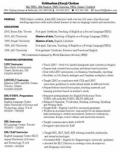 esl instructor resume sample. esl sample resume esl specialist ...