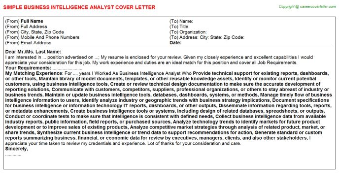 Business Intelligence Architect Cover Letters