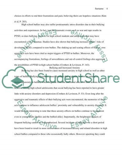 The Causes and Psychological Effect of Bullying in High School Essay