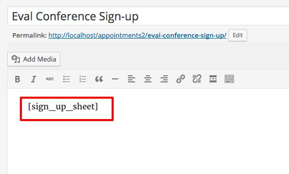 Eval Conference Sign-up Sheet - WordPress - Help Wiki