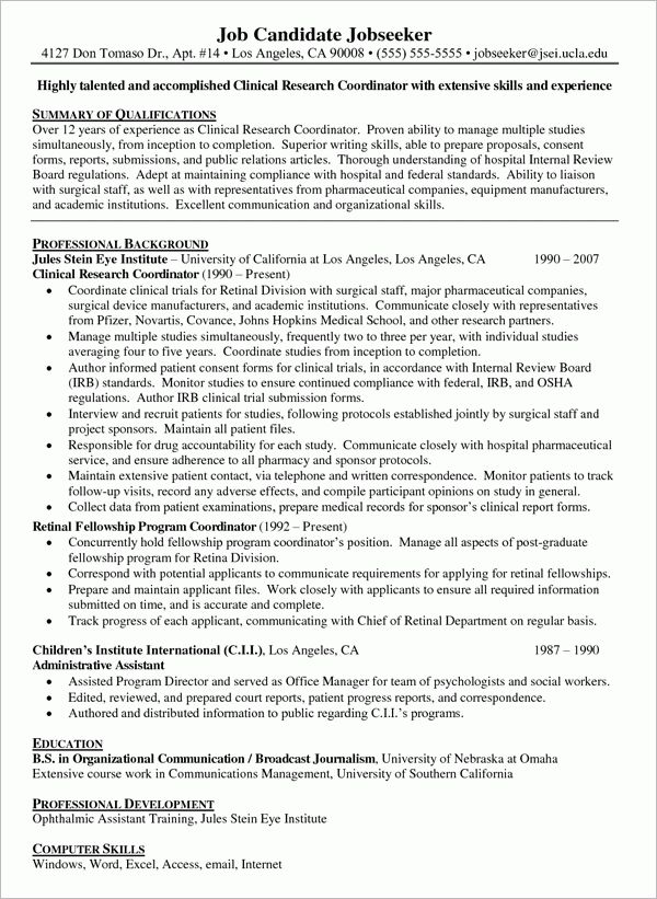 Resume Research Assistant - Template Examples