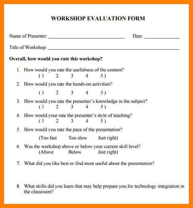 Presentation Evaluation Form In Pdf. Workshop Evaluation Form ...