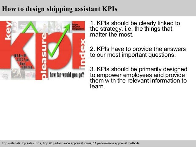 Shipping assistant kpi