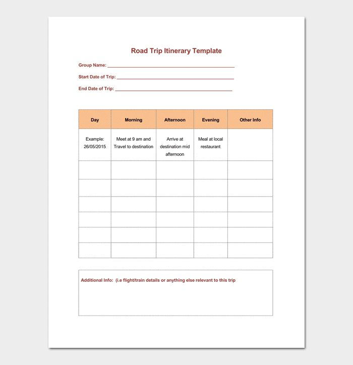 Vacation Itinerary Template - 5+ Planners For Word DOC & PDF Format
