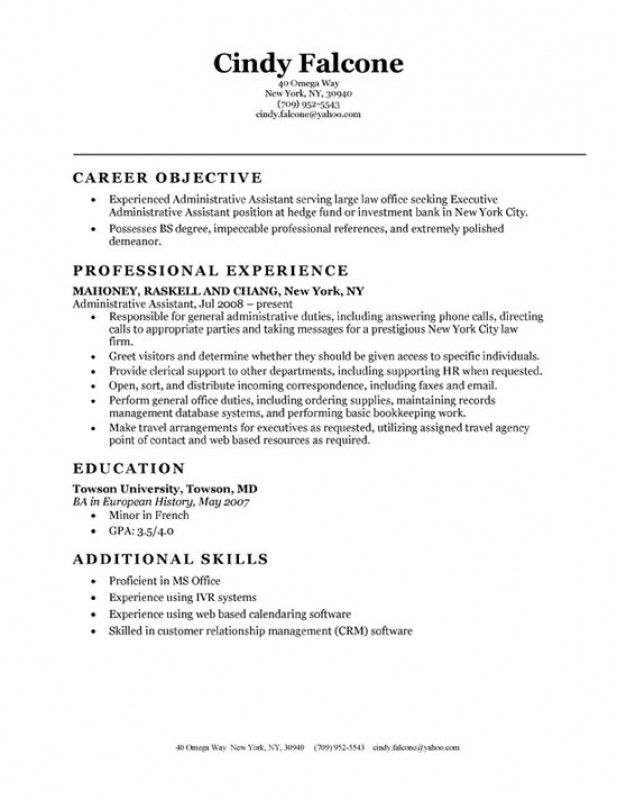 resume objective for administrative position medical