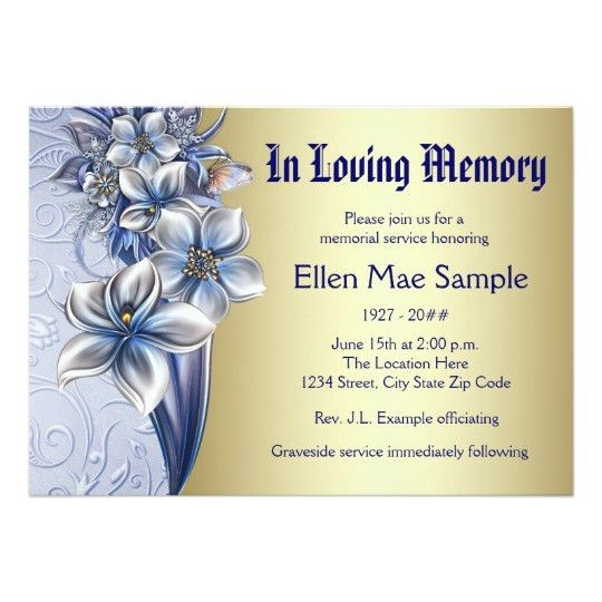 Elegant Blue Memorial Service Announcements | Zazzle.com