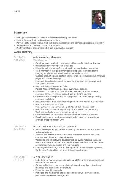 Web Marketing Manager Resume samples - VisualCV resume samples ...