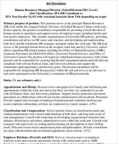 Human Resources Director Job Description Sample - 9+ Examples in ...