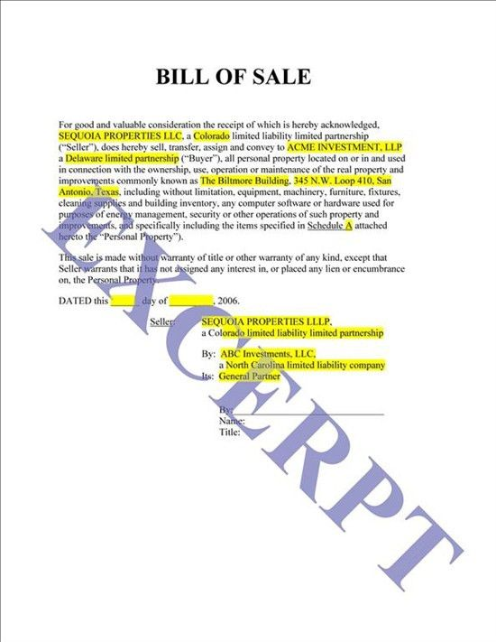 Bill Of Sale And Inventory List: REALCREFORMS