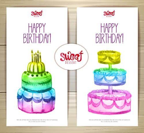 Sweet dessert happy birthday cards vectors Free vector in ...