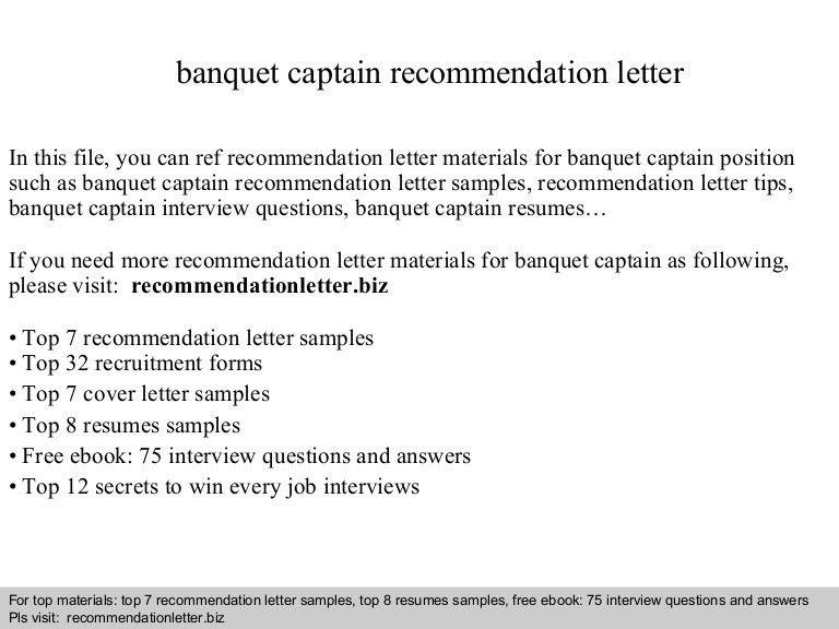 Banquet captain recommendation letter