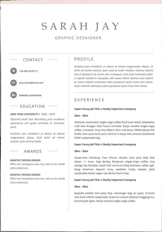 5 Etsy Resume TemplatesTo Get You Started | Taste Of Wander