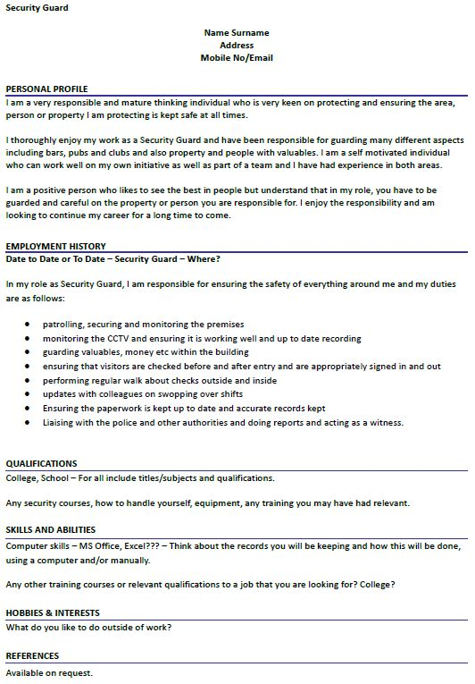 Security Guard CV Example - icover.org.uk
