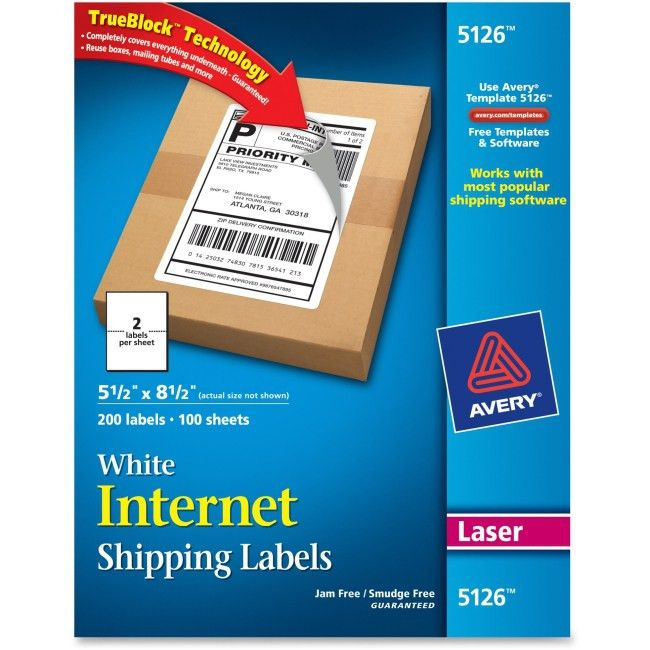 """Avery 5126 White Shipping Labels Permanent Adhesive - 5.50"""" Width ..."""