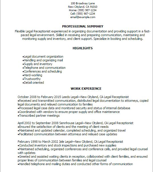 resume samples receptionist front desk receptionist resume sample ...