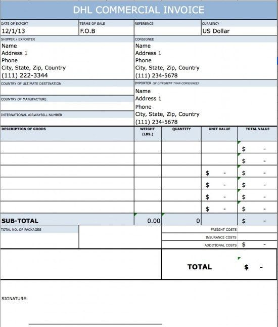 Dhl Commercial Invoice Template | invoice example