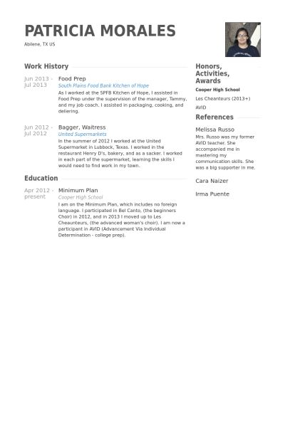 Food Prep Resume samples - VisualCV resume samples database