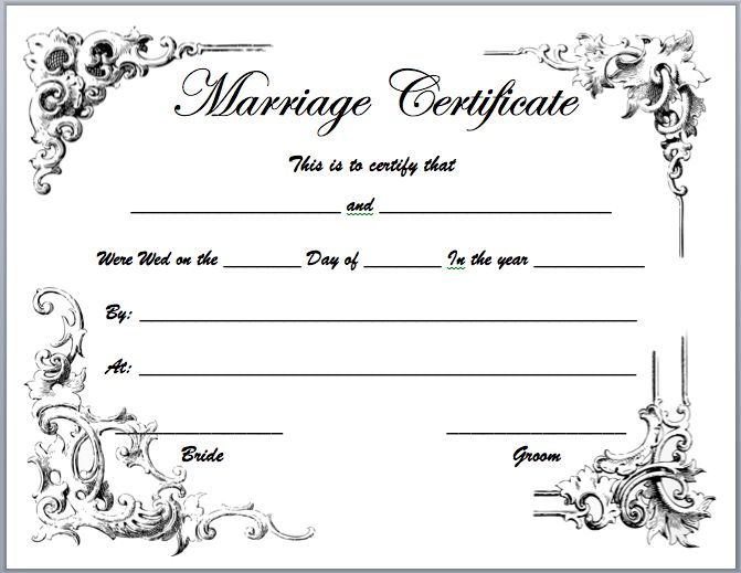 Blank Marriage Certificate Template | Best And Professional Templates