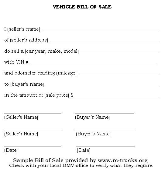 10+ Sample of Vehicle Bill of Sale Template | Manager's Club
