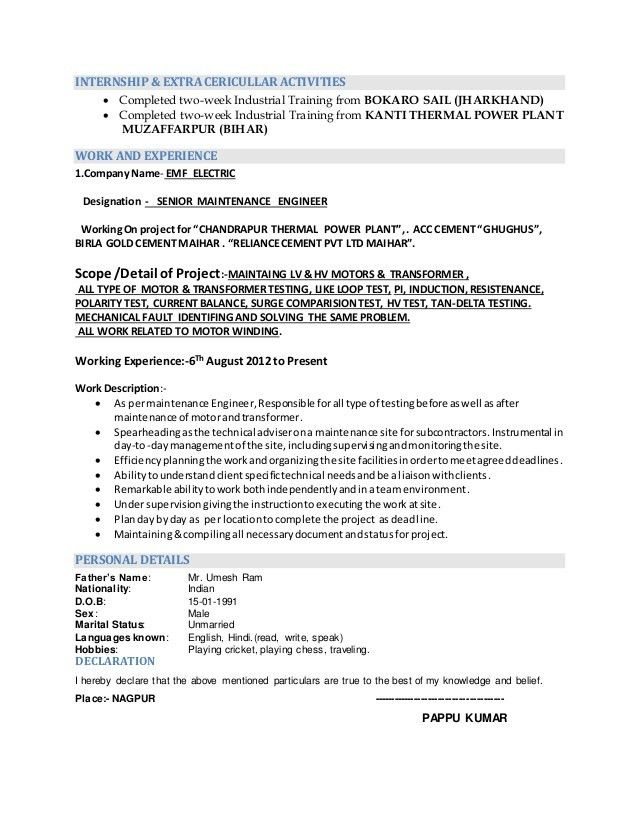 RESUME (ELECTRICAL & ELECTRONICS) ENGINEERING