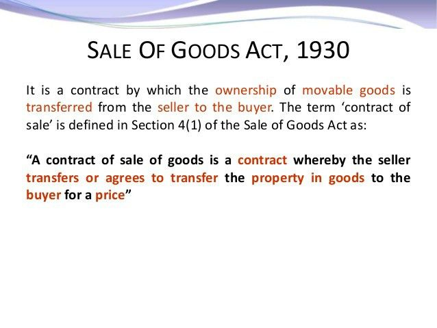 Business Law - Sales of Goods Act Case Studies