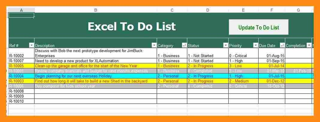 12+ to do list excel template | actor resumed