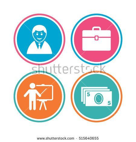 Businessman Icons Human Silhouette Cash Money Stock Vector ...
