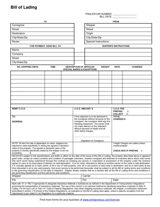 Free Bill Of Lading Form 6 Templates In Pdf Kids Behavior Chart ...