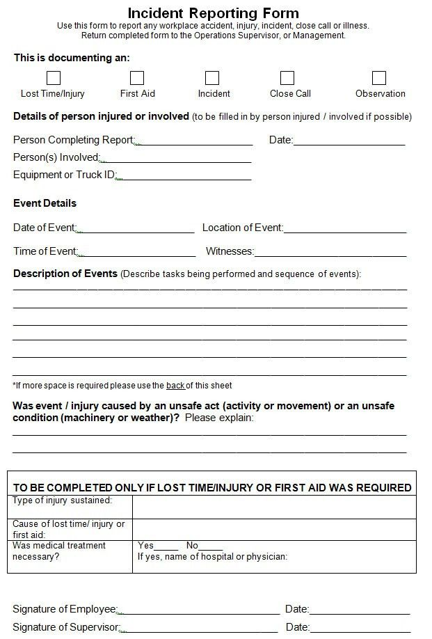 Free printable Incident Report Template for MS Word Format ...