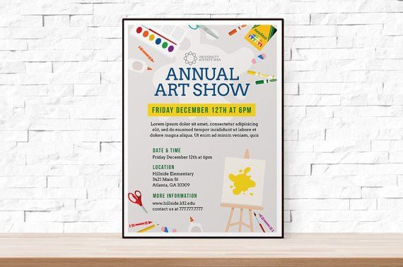 DIY Printable School Art Show Flyer Template, Word Flyer Templates ...