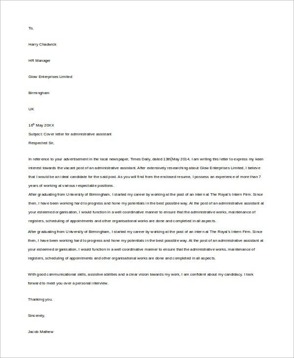 Sample Administrative Assistant Cover Letter - 7+ Examples in Word ...