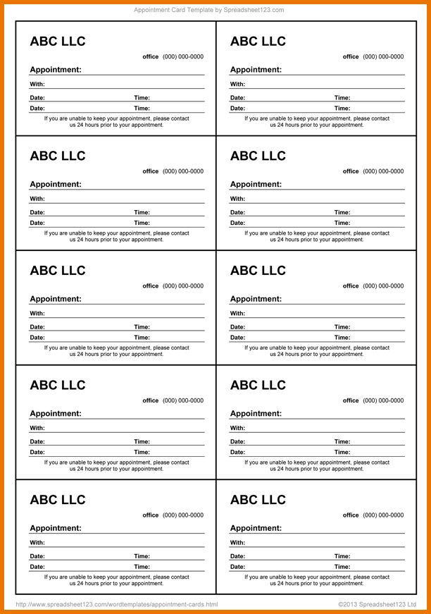 Appointment Reminder Cards.blank Appointment Card 10 Lg.png ...