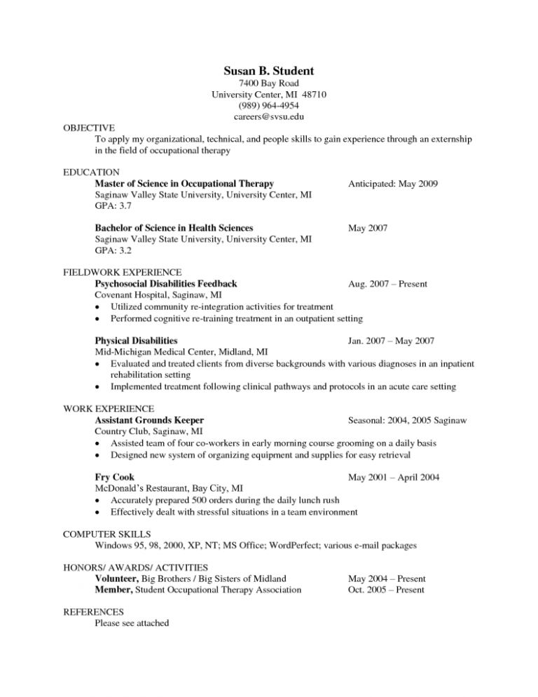Innovation Occupational Therapy Resume Examples 16 Sample Ot