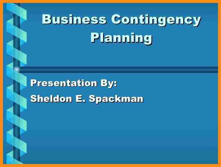 Integrated Contingency Plan Template. business contingency plan ...