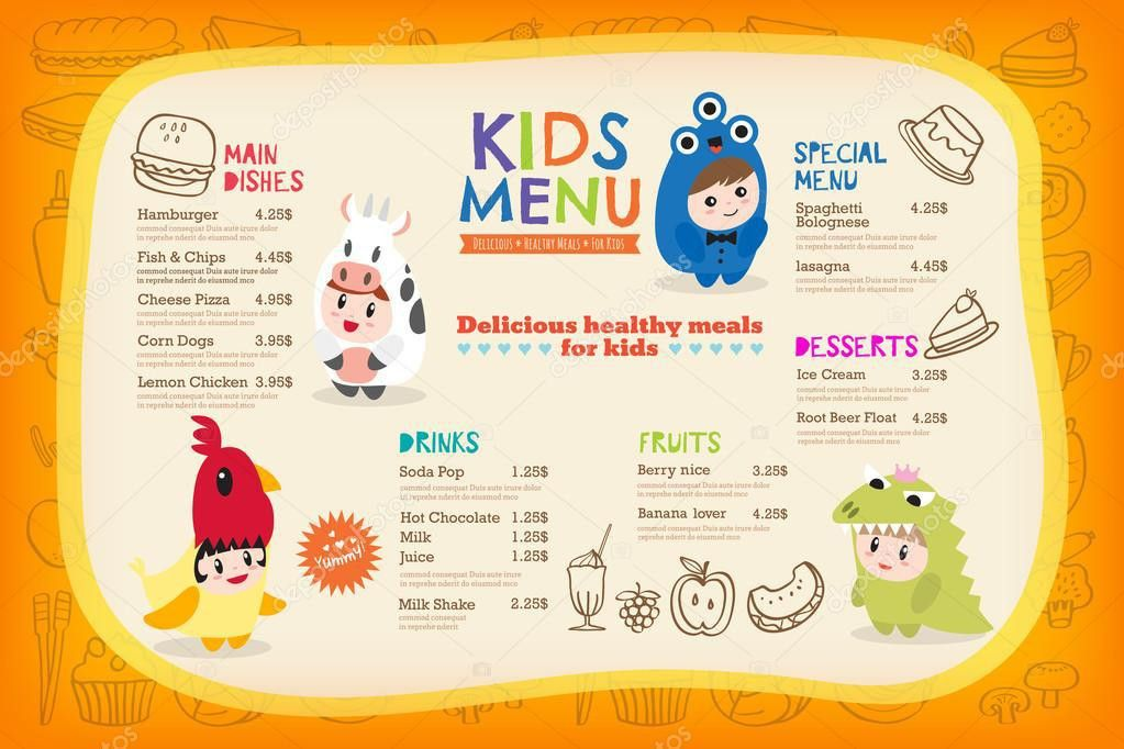 Cute colorful kids meal menu template with children dressing up in ...