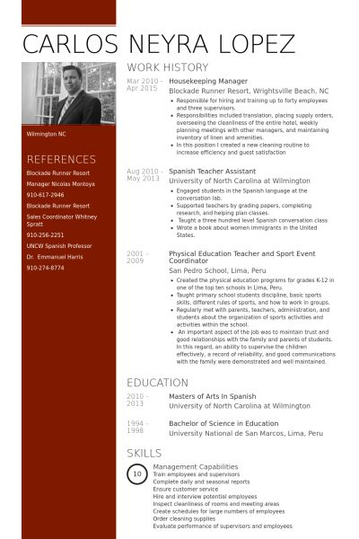 Housekeeping Resume samples - VisualCV resume samples database