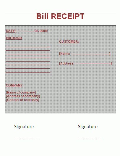 Bill Receipt Format | Free Business Templates