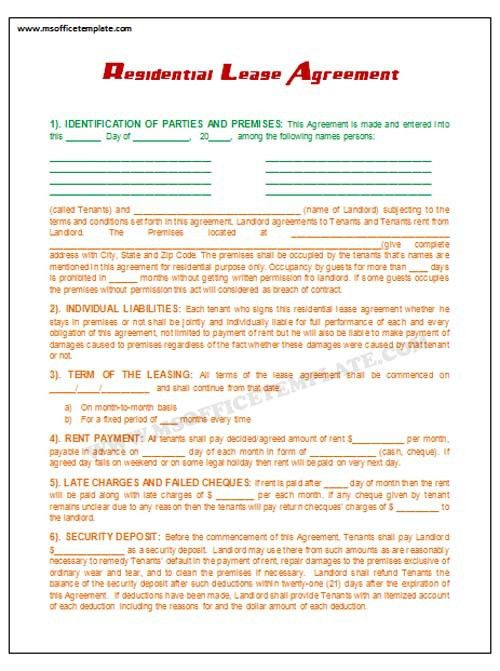 Microsoft Office TemplatesLease Agreement Template