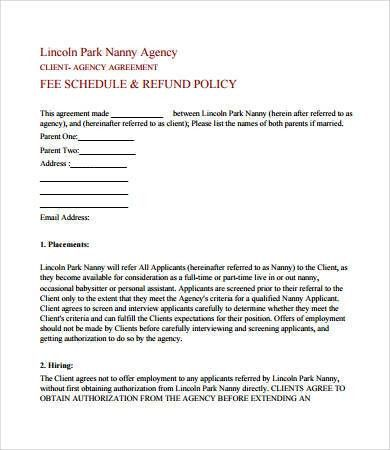 Nanny Agreement Contract. Nanny Housekeeper Contract Template ...