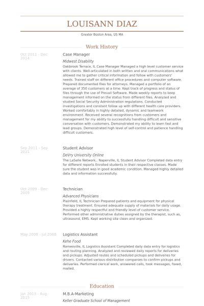 Case Manager Resume samples - VisualCV resume samples database