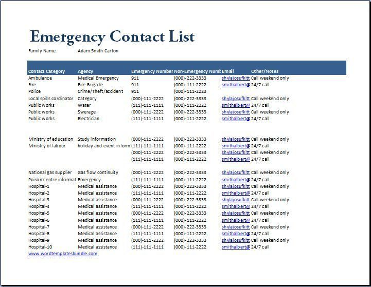 MS Excel Emergency Contact List Template | Formal Word Templates